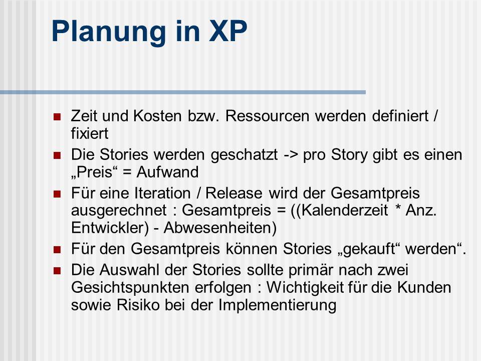 Planung in XP Zeit und Kosten bzw. Ressourcen werden definiert / fixiert Die Stories werden geschatzt -> pro Story gibt es einen Preis = Aufwand Für e
