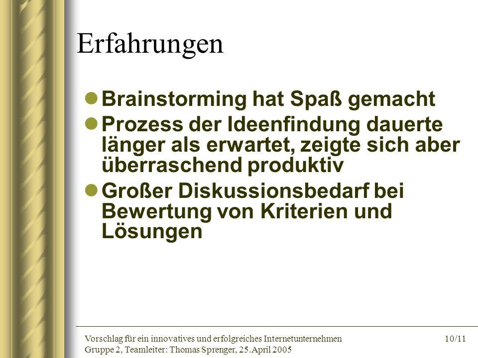 Vorschlag für ein innovatives und erfolgreiches Internetunternehmen 10/11 Gruppe 2, Teamleiter: Thomas Sprenger, 25.April 2005 Erfahrungen Brainstormi