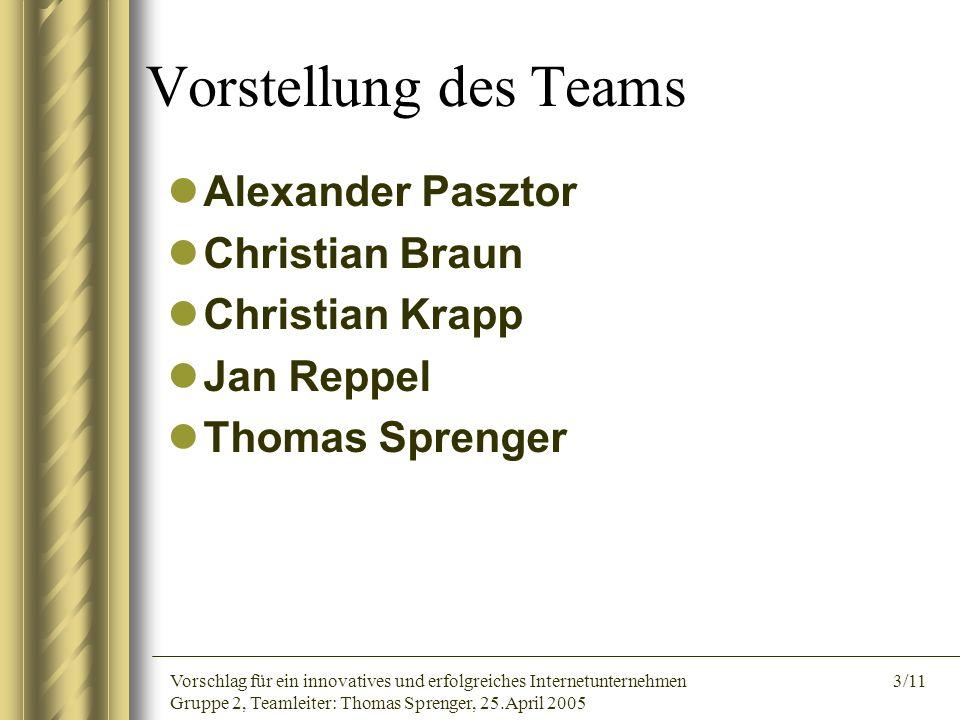Vorschlag für ein innovatives und erfolgreiches Internetunternehmen 3/11 Gruppe 2, Teamleiter: Thomas Sprenger, 25.April 2005 Vorstellung des Teams Al