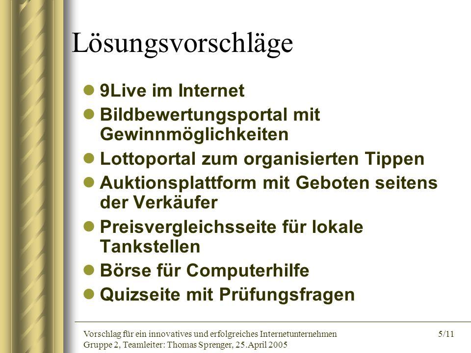 Vorschlag für ein innovatives und erfolgreiches Internetunternehmen 5/11 Gruppe 2, Teamleiter: Thomas Sprenger, 25.April 2005 Lösungsvorschläge 9Live