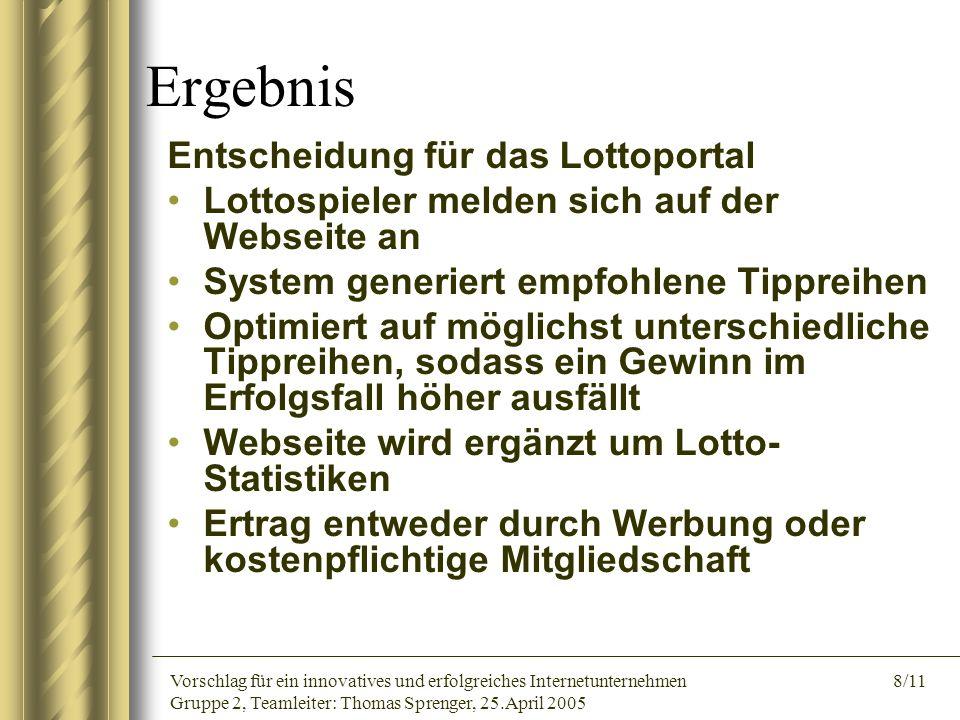 Vorschlag für ein innovatives und erfolgreiches Internetunternehmen 8/11 Gruppe 2, Teamleiter: Thomas Sprenger, 25.April 2005 Ergebnis Entscheidung fü
