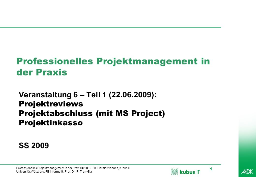 Professionelles Projektmanagement in der Praxis © 2009 Dr. Harald Wehnes, kubus IT Universität Würzburg, FB Informatik, Prof. Dr. P. Tran-Gia 1 Profes