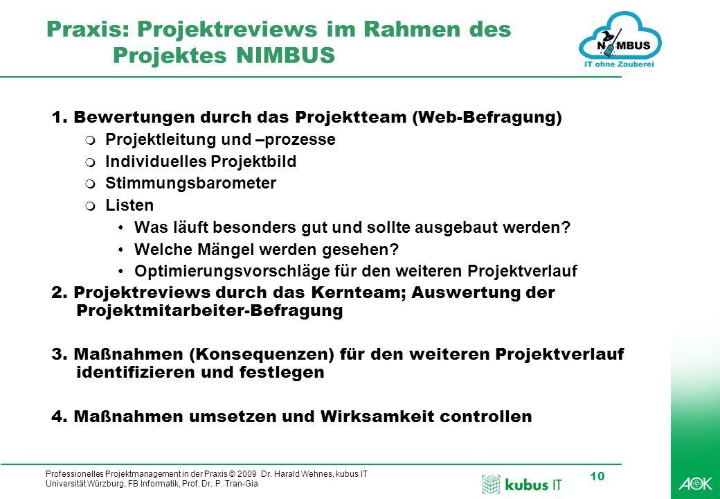 Professionelles Projektmanagement in der Praxis © 2009 Dr. Harald Wehnes, kubus IT Universität Würzburg, FB Informatik, Prof. Dr. P. Tran-Gia 10 Praxi
