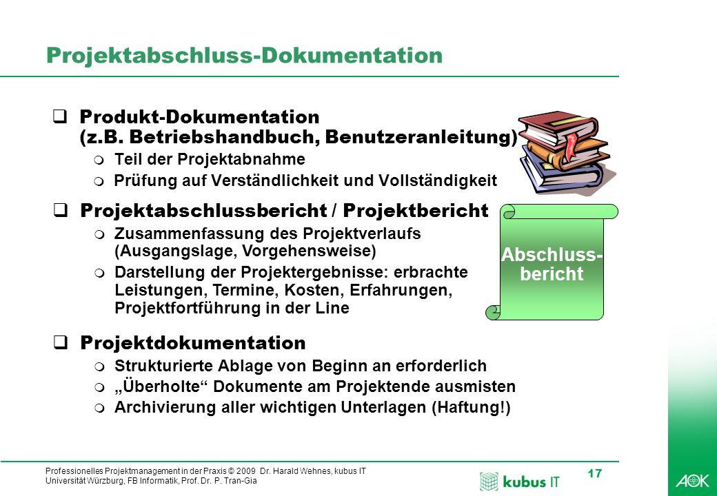 Professionelles Projektmanagement in der Praxis © 2009 Dr. Harald Wehnes, kubus IT Universität Würzburg, FB Informatik, Prof. Dr. P. Tran-Gia 17 Proje
