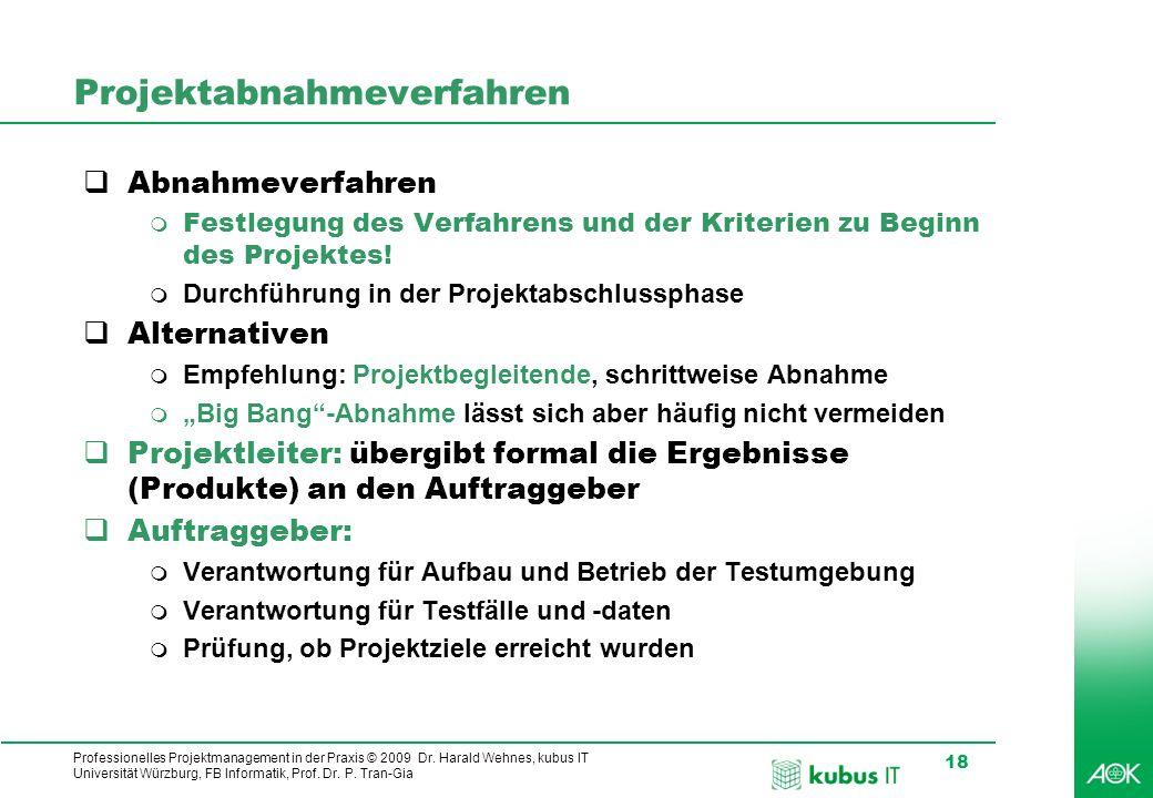 Professionelles Projektmanagement in der Praxis © 2009 Dr. Harald Wehnes, kubus IT Universität Würzburg, FB Informatik, Prof. Dr. P. Tran-Gia 18 Proje