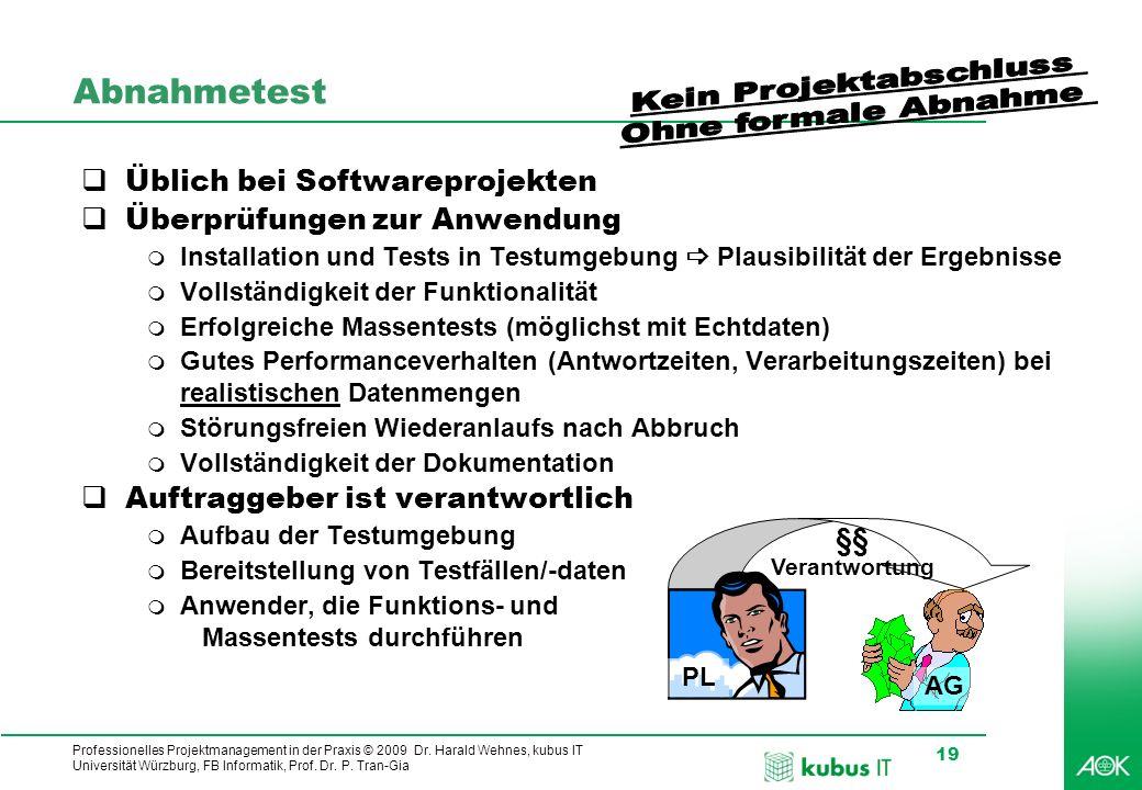 Professionelles Projektmanagement in der Praxis © 2009 Dr. Harald Wehnes, kubus IT Universität Würzburg, FB Informatik, Prof. Dr. P. Tran-Gia 19 §§ Ve