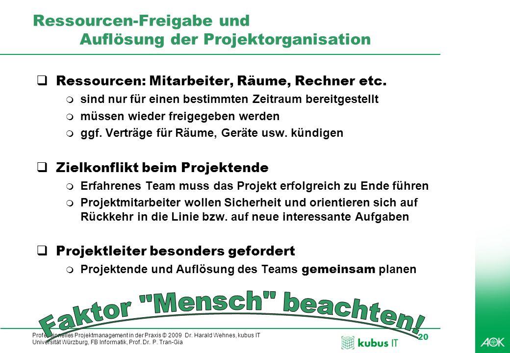 Professionelles Projektmanagement in der Praxis © 2009 Dr. Harald Wehnes, kubus IT Universität Würzburg, FB Informatik, Prof. Dr. P. Tran-Gia 20 Resso