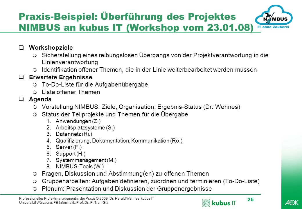Professionelles Projektmanagement in der Praxis © 2009 Dr. Harald Wehnes, kubus IT Universität Würzburg, FB Informatik, Prof. Dr. P. Tran-Gia 25 Praxi