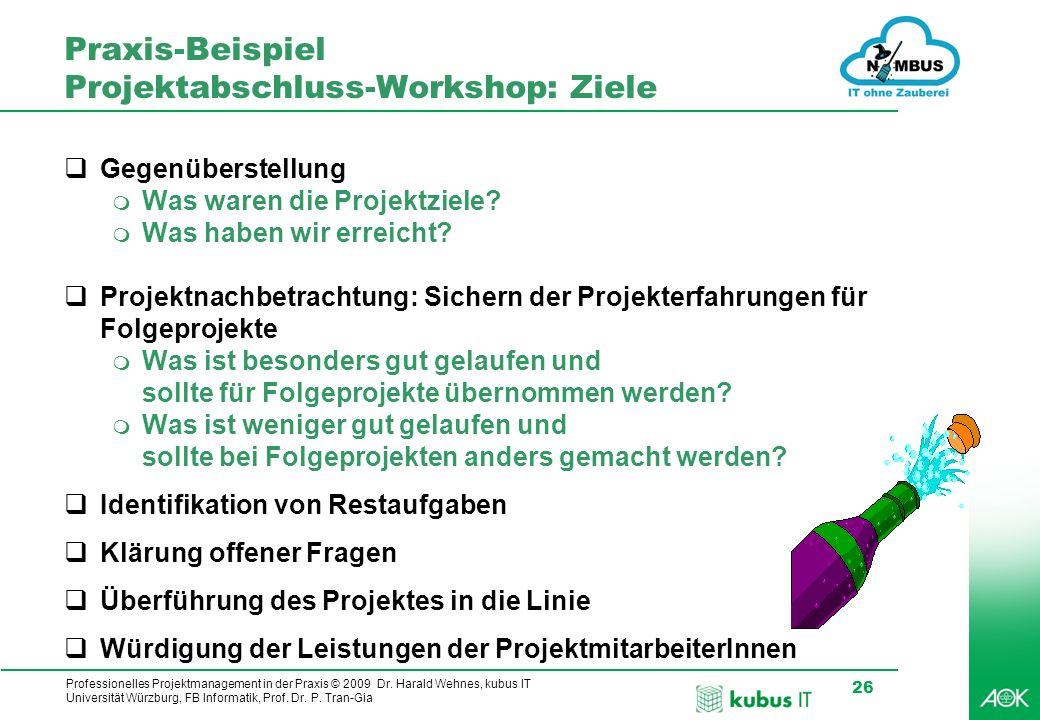 Professionelles Projektmanagement in der Praxis © 2009 Dr. Harald Wehnes, kubus IT Universität Würzburg, FB Informatik, Prof. Dr. P. Tran-Gia 26 Praxi
