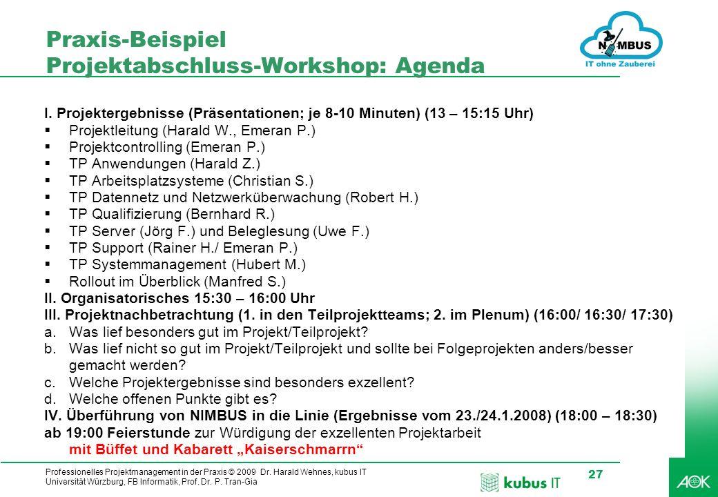 Professionelles Projektmanagement in der Praxis © 2009 Dr. Harald Wehnes, kubus IT Universität Würzburg, FB Informatik, Prof. Dr. P. Tran-Gia 27 Praxi