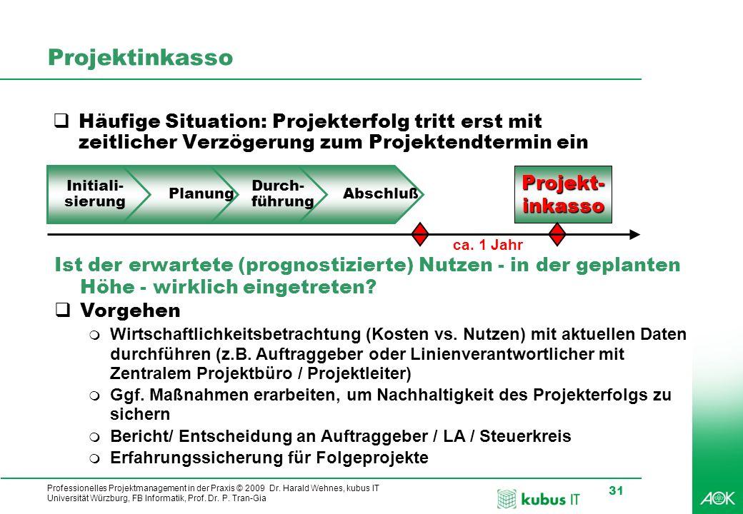 Professionelles Projektmanagement in der Praxis © 2009 Dr. Harald Wehnes, kubus IT Universität Würzburg, FB Informatik, Prof. Dr. P. Tran-Gia 31 Proje