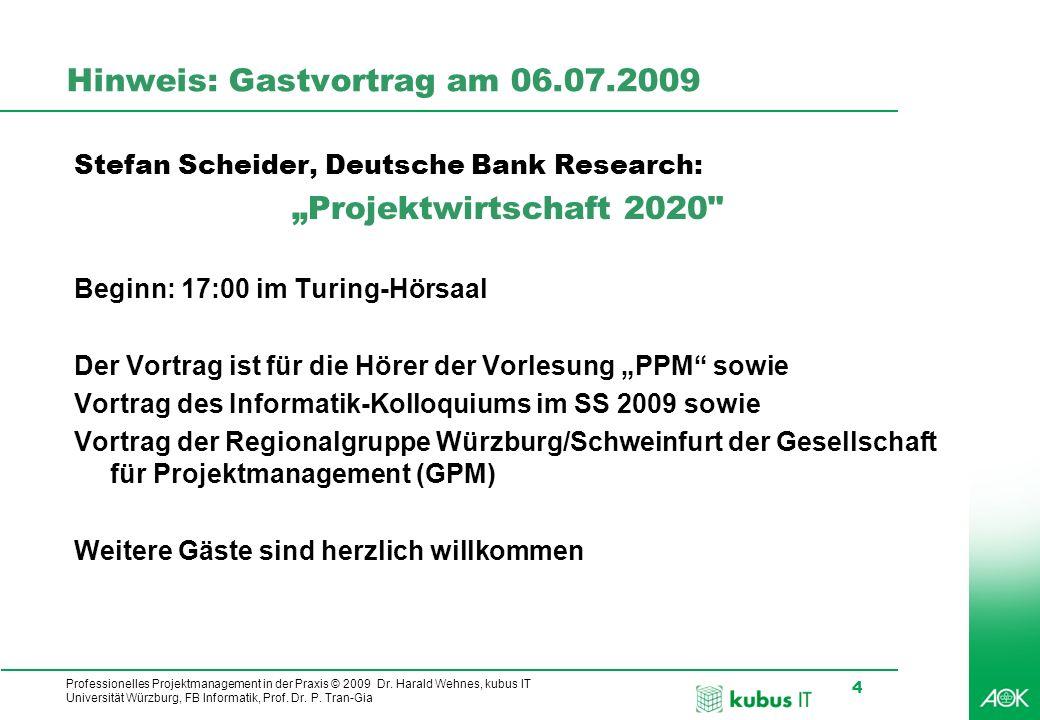 Professionelles Projektmanagement in der Praxis © 2009 Dr. Harald Wehnes, kubus IT Universität Würzburg, FB Informatik, Prof. Dr. P. Tran-Gia 4 Hinwei