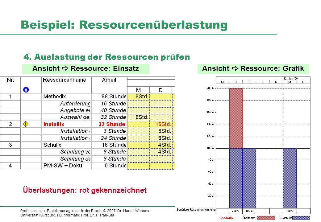 Professionelles Projektmanagement in der Praxis, © 2007 Dr. Harald Wehnes Universität Würzburg, FB Informatik, Prof. Dr. P.Tran-Gia 14 Beispiel: Resso