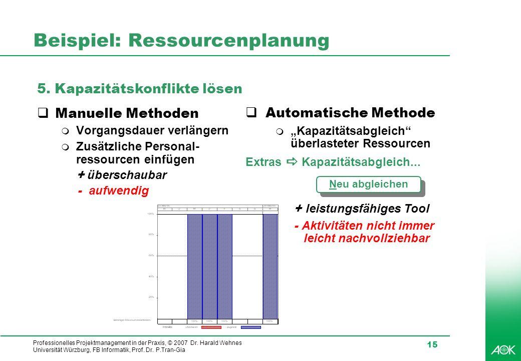 Professionelles Projektmanagement in der Praxis, © 2007 Dr. Harald Wehnes Universität Würzburg, FB Informatik, Prof. Dr. P.Tran-Gia 15 Beispiel: Resso