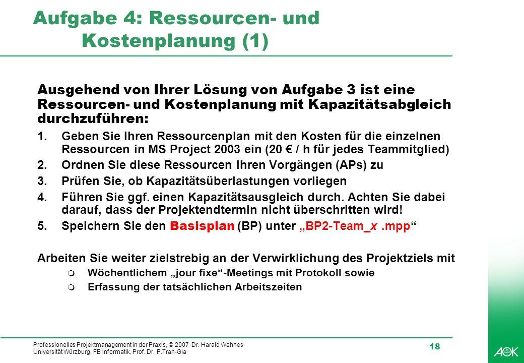 Professionelles Projektmanagement in der Praxis, © 2007 Dr. Harald Wehnes Universität Würzburg, FB Informatik, Prof. Dr. P.Tran-Gia 18 Aufgabe 4: Ress