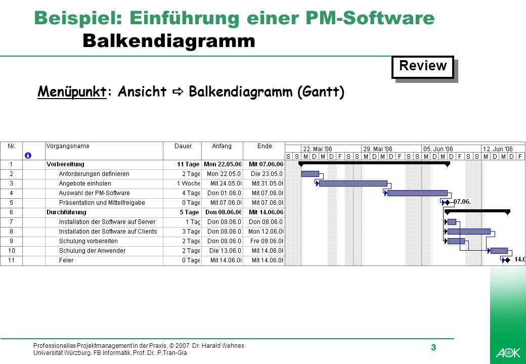 Professionelles Projektmanagement in der Praxis, © 2007 Dr. Harald Wehnes Universität Würzburg, FB Informatik, Prof. Dr. P.Tran-Gia 3 Beispiel: Einfüh