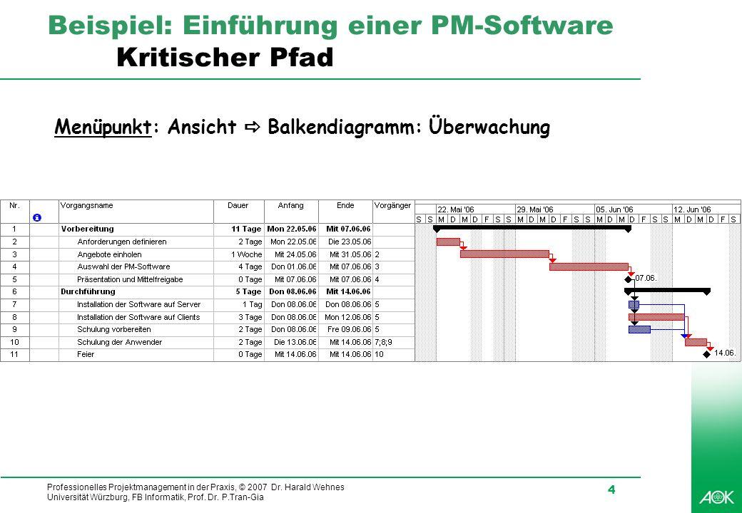 Professionelles Projektmanagement in der Praxis, © 2007 Dr. Harald Wehnes Universität Würzburg, FB Informatik, Prof. Dr. P.Tran-Gia 4 Beispiel: Einfüh