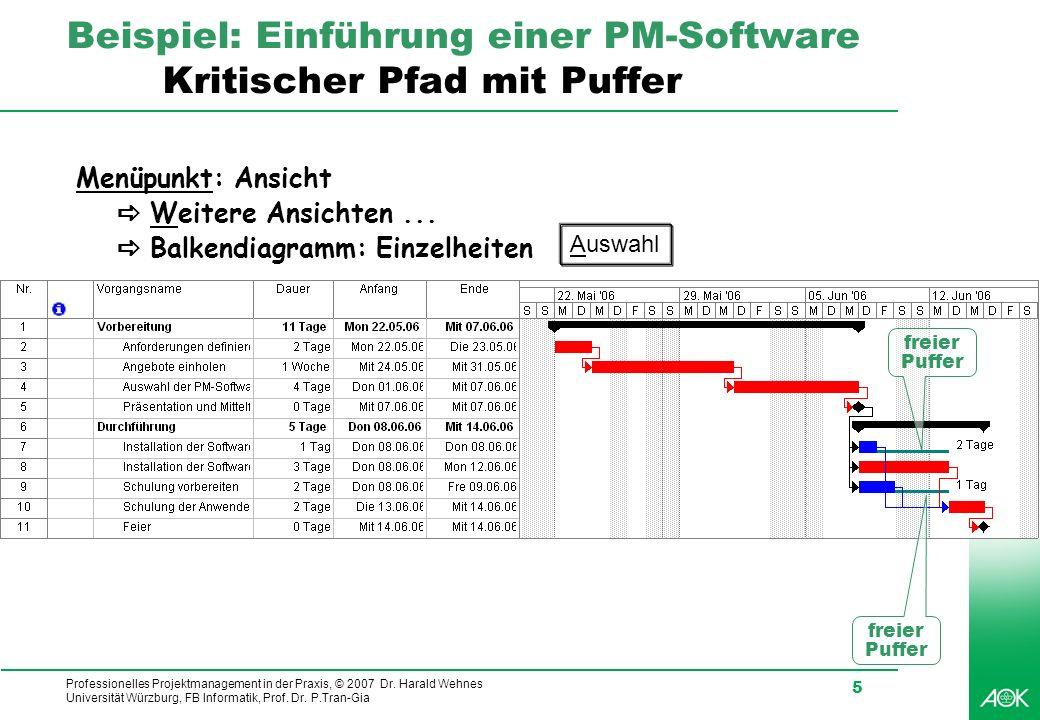 Professionelles Projektmanagement in der Praxis, © 2007 Dr. Harald Wehnes Universität Würzburg, FB Informatik, Prof. Dr. P.Tran-Gia 5 Beispiel: Einfüh