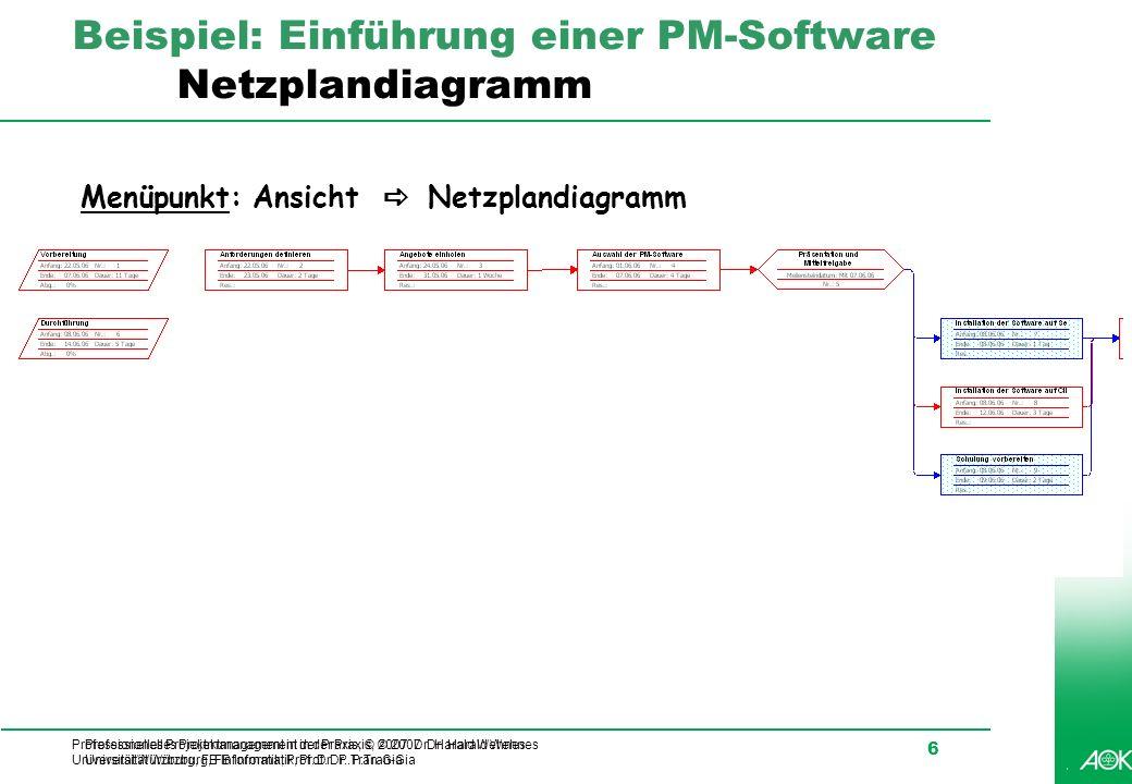 Professionelles Projektmanagement in der Praxis, © 2007 Dr. Harald Wehnes Universität Würzburg, FB Informatik, Prof. Dr. P.Tran-Gia 6 Beispiel: Einfüh