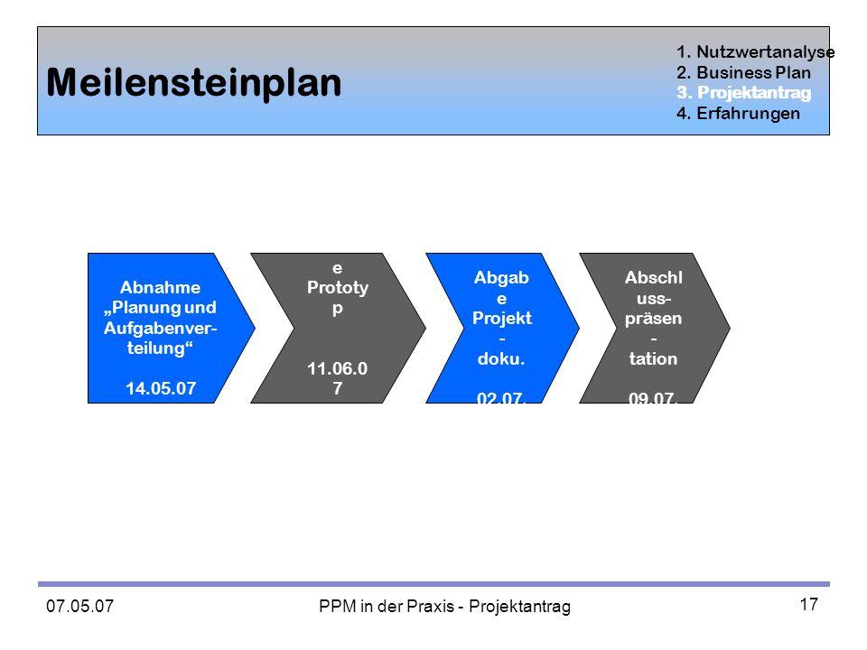 07.05.07 PPM in der Praxis - Projektantrag 17 Meilensteinplan 1.