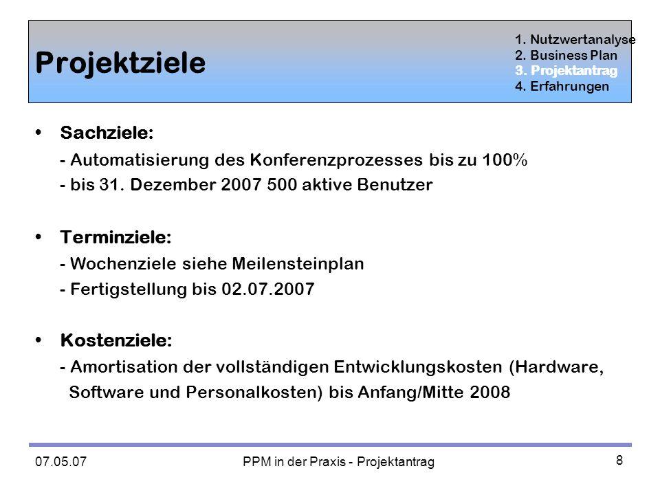 07.05.07 PPM in der Praxis - Projektantrag 8 Projektziele Sachziele: - Automatisierung des Konferenzprozesses bis zu 100% - bis 31.