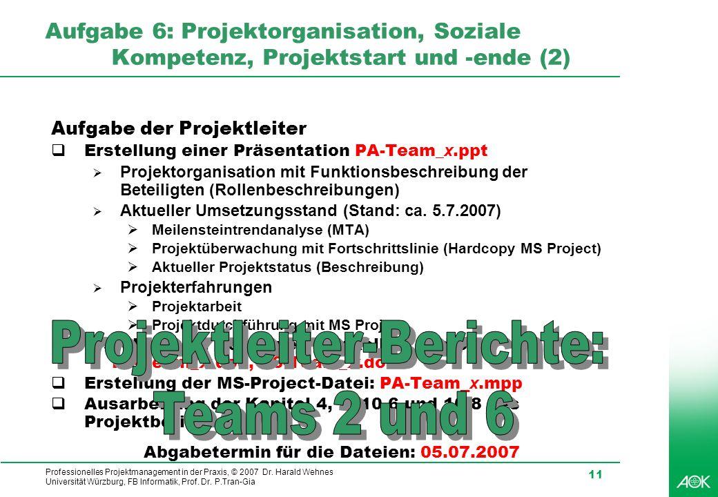 Professionelles Projektmanagement in der Praxis, © 2007 Dr. Harald Wehnes Universität Würzburg, FB Informatik, Prof. Dr. P.Tran-Gia 11 Aufgabe 6: Proj