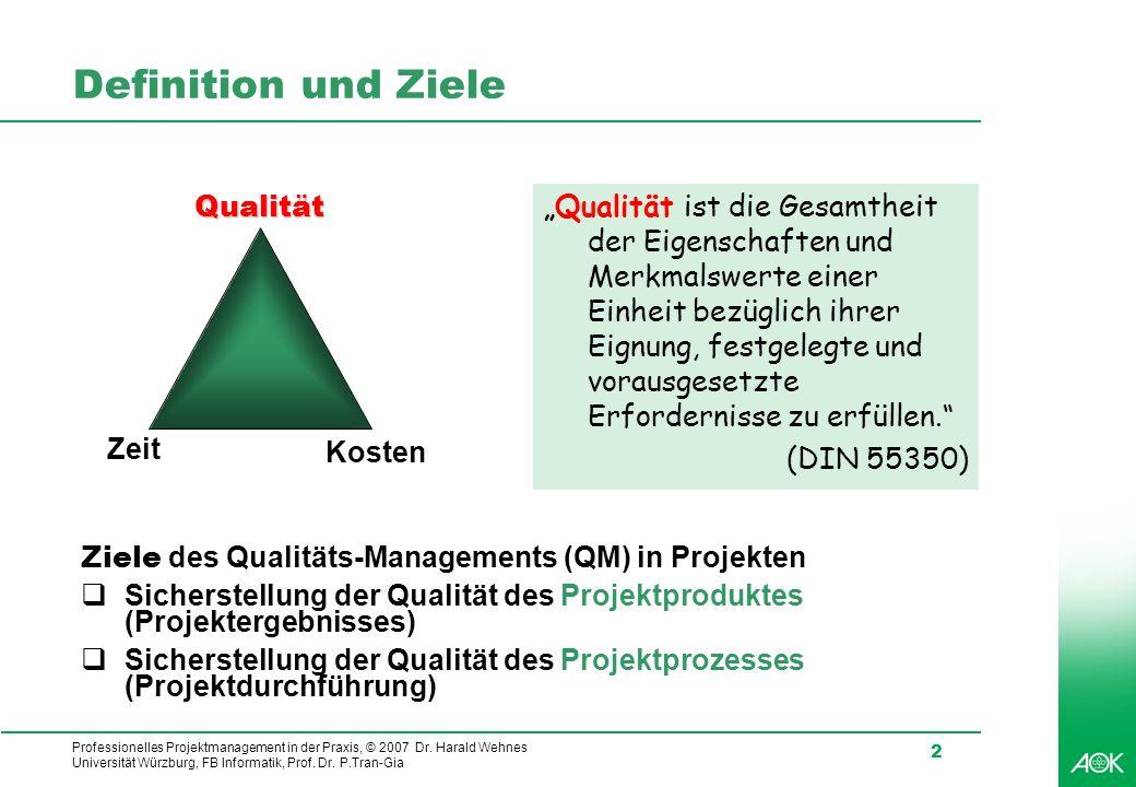 Professionelles Projektmanagement in der Praxis, © 2007 Dr. Harald Wehnes Universität Würzburg, FB Informatik, Prof. Dr. P.Tran-Gia 2 Definition und Z