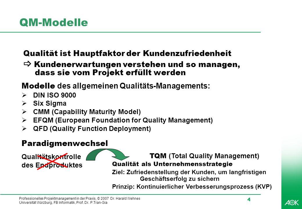 Professionelles Projektmanagement in der Praxis, © 2007 Dr. Harald Wehnes Universität Würzburg, FB Informatik, Prof. Dr. P.Tran-Gia 4 QM-Modelle Quali