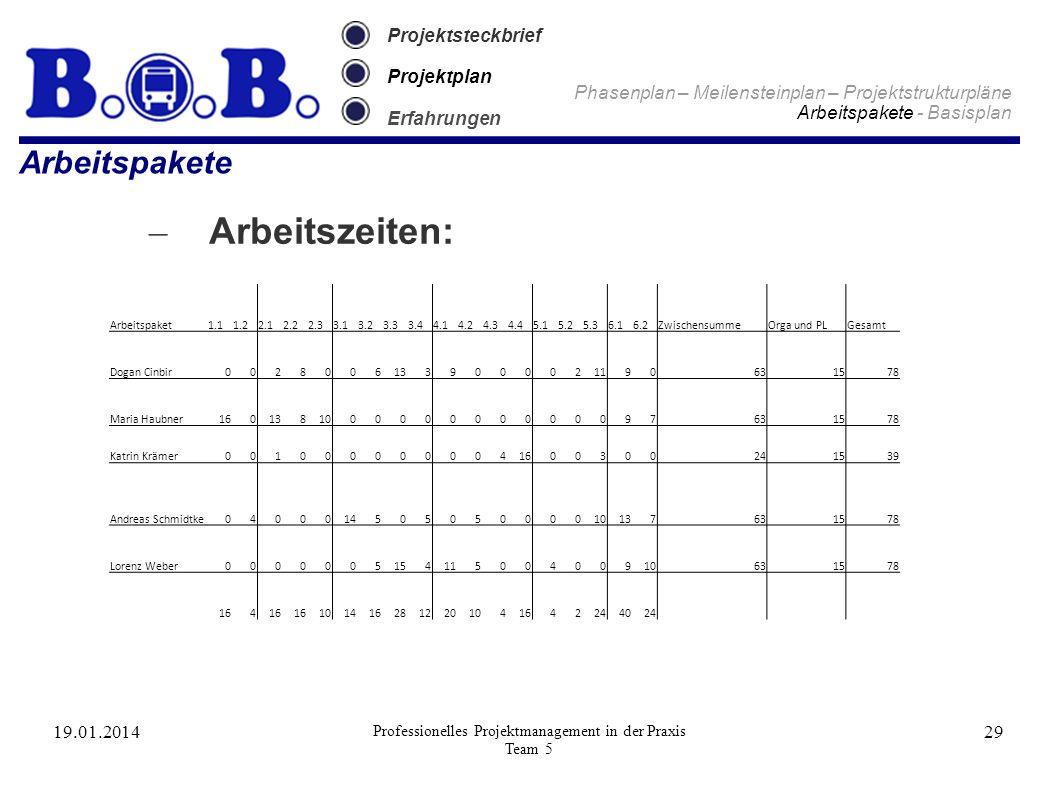 19.01.2014 Professionelles Projektmanagement in der Praxis Team 5 29 Projektsteckbrief Projektplan Erfahrungen Arbeitspakete – Arbeitszeiten: Phasenpl
