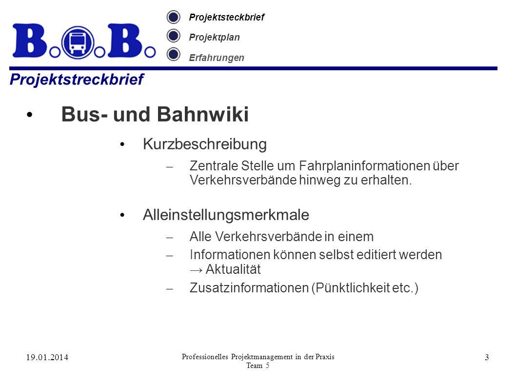 19.01.2014 Professionelles Projektmanagement in der Praxis Team 5 3 Projektsteckbrief Projektplan Erfahrungen Projektstreckbrief Bus- und Bahnwiki Kur