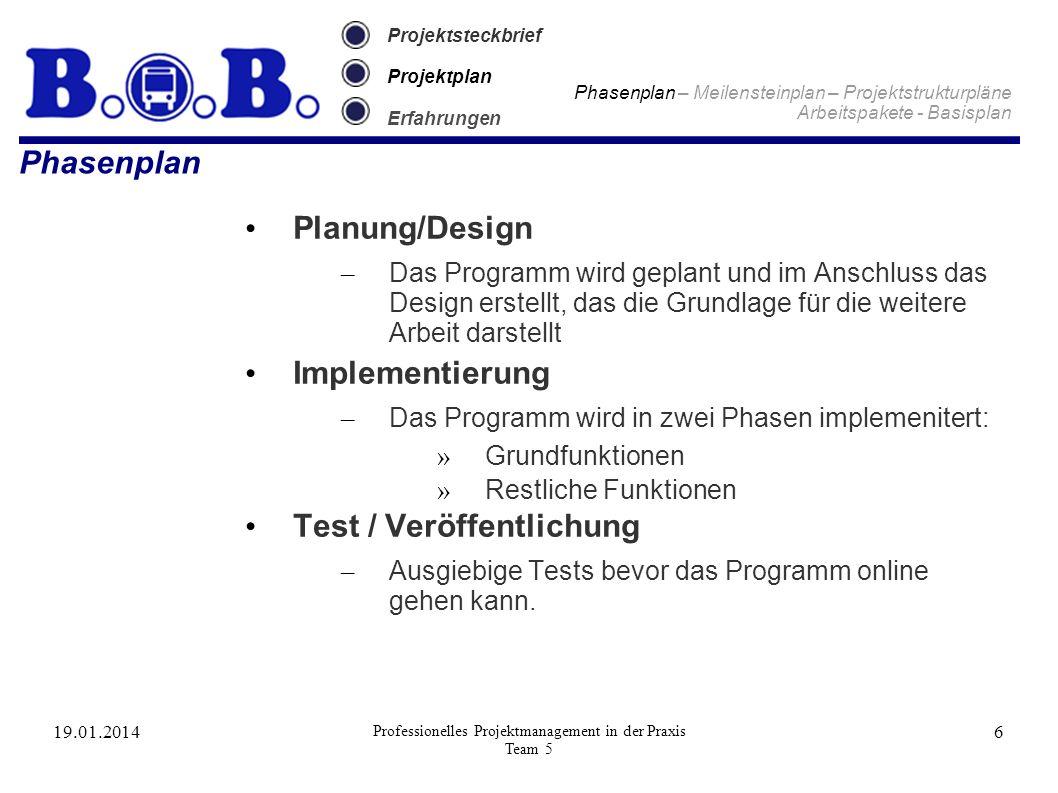 19.01.2014 Professionelles Projektmanagement in der Praxis Team 5 6 Projektsteckbrief Projektplan Erfahrungen Phasenplan Phasenplan – Meilensteinplan