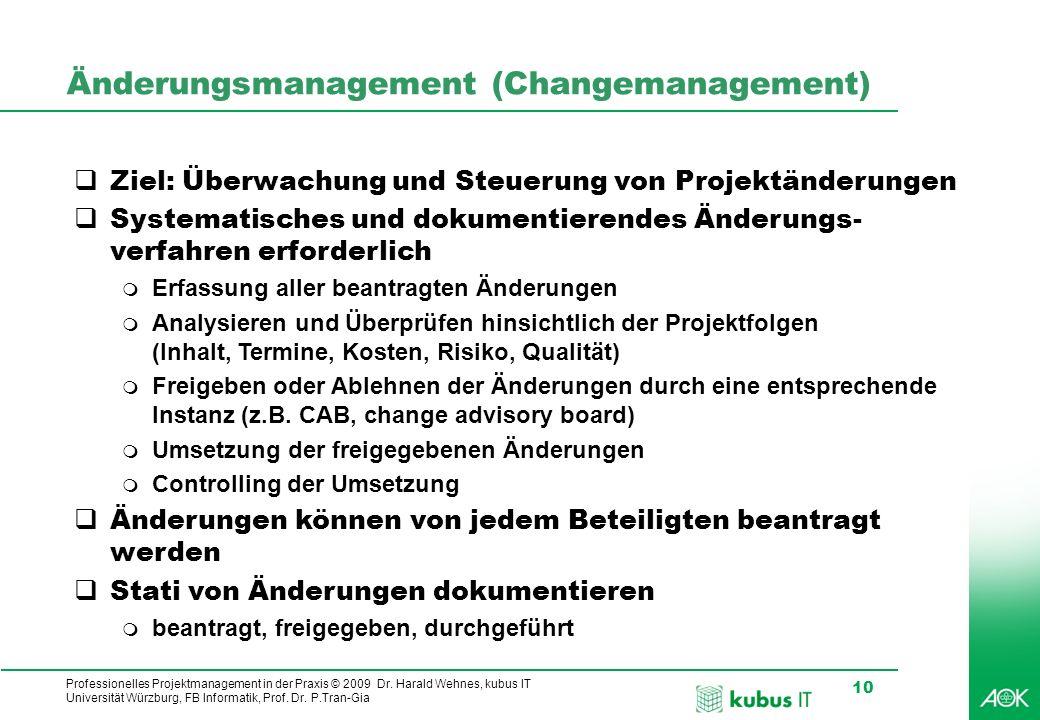 Professionelles Projektmanagement in der Praxis © 2009 Dr. Harald Wehnes, kubus IT Universität Würzburg, FB Informatik, Prof. Dr. P.Tran-Gia 10 Änderu
