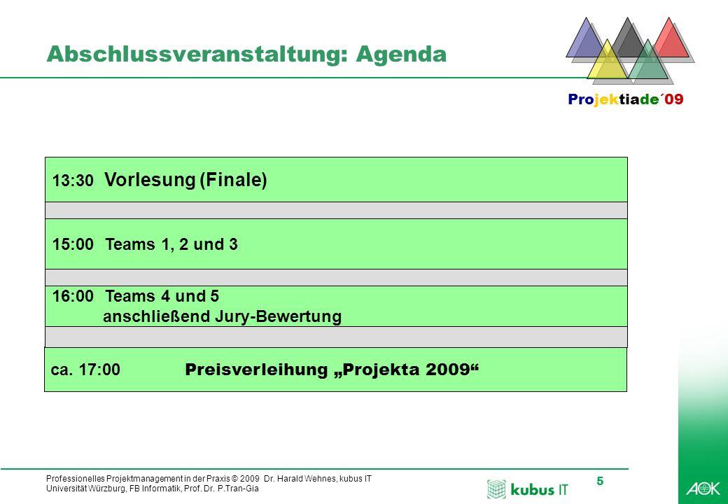 Professionelles Projektmanagement in der Praxis © 2009 Dr. Harald Wehnes, kubus IT Universität Würzburg, FB Informatik, Prof. Dr. P.Tran-Gia 5 Abschlu