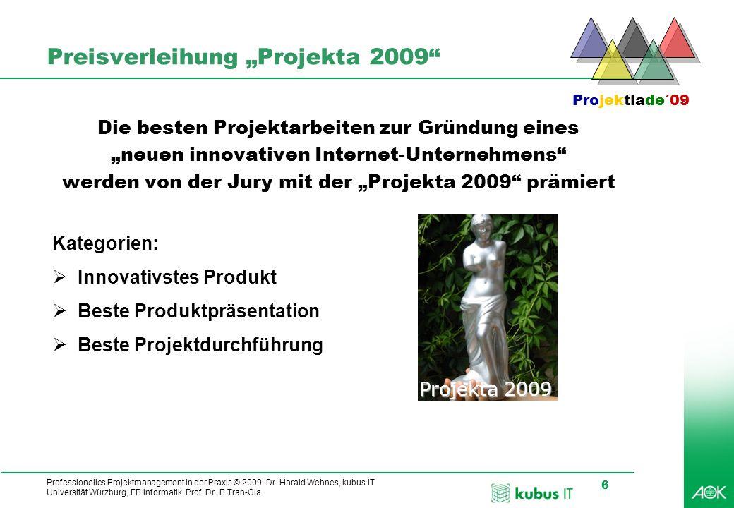 Professionelles Projektmanagement in der Praxis © 2009 Dr. Harald Wehnes, kubus IT Universität Würzburg, FB Informatik, Prof. Dr. P.Tran-Gia 6 Preisve