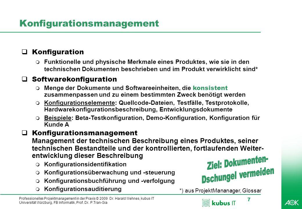 Professionelles Projektmanagement in der Praxis © 2009 Dr. Harald Wehnes, kubus IT Universität Würzburg, FB Informatik, Prof. Dr. P.Tran-Gia 7 Konfigu