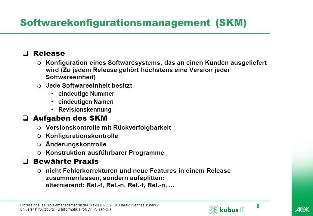 Professionelles Projektmanagement in der Praxis © 2009 Dr. Harald Wehnes, kubus IT Universität Würzburg, FB Informatik, Prof. Dr. P.Tran-Gia 8 Softwar
