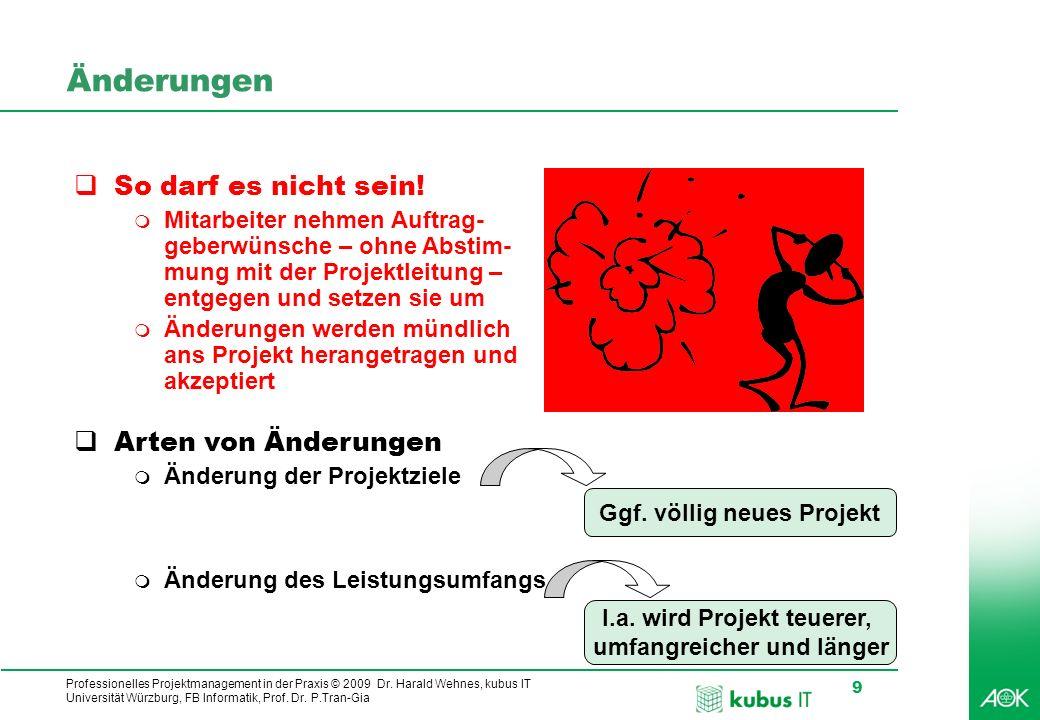 Professionelles Projektmanagement in der Praxis © 2009 Dr. Harald Wehnes, kubus IT Universität Würzburg, FB Informatik, Prof. Dr. P.Tran-Gia 9 Änderun