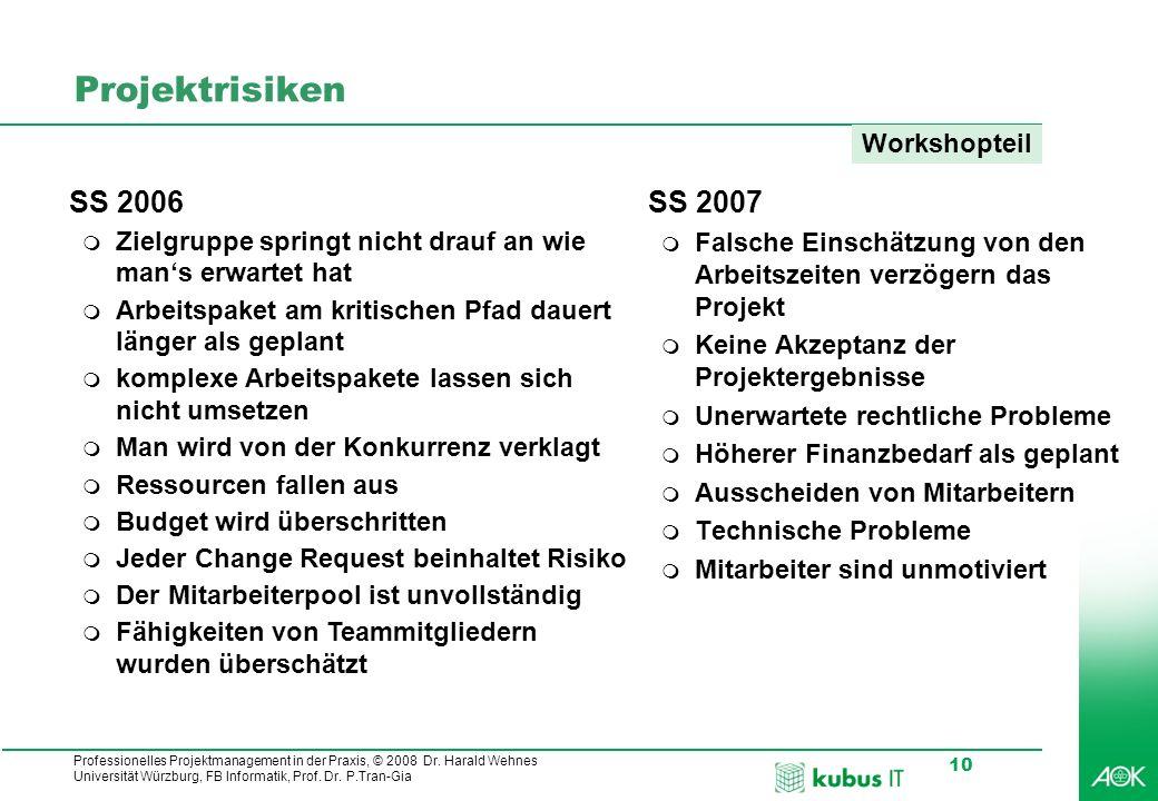 Professionelles Projektmanagement in der Praxis, © 2008 Dr. Harald Wehnes Universität Würzburg, FB Informatik, Prof. Dr. P.Tran-Gia 10 Projektrisiken