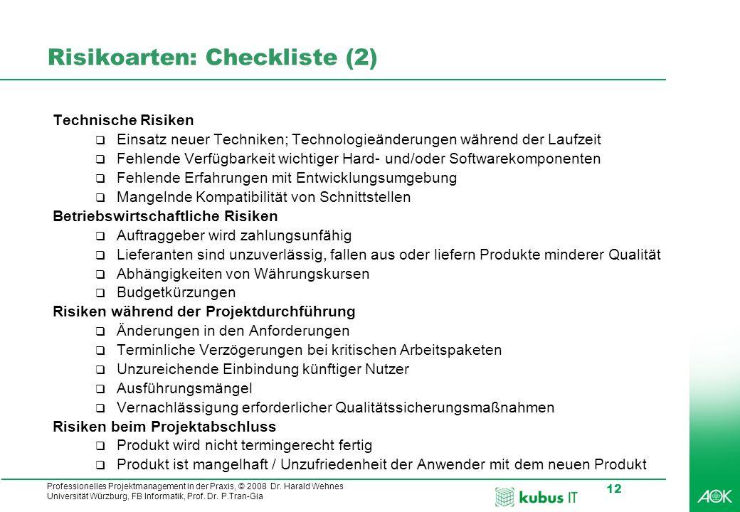 Professionelles Projektmanagement in der Praxis, © 2008 Dr. Harald Wehnes Universität Würzburg, FB Informatik, Prof. Dr. P.Tran-Gia 12 Risikoarten: Ch
