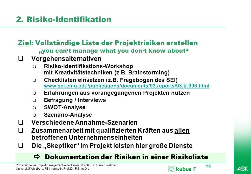 Professionelles Projektmanagement in der Praxis, © 2008 Dr. Harald Wehnes Universität Würzburg, FB Informatik, Prof. Dr. P.Tran-Gia 15 2. Risiko-Ident