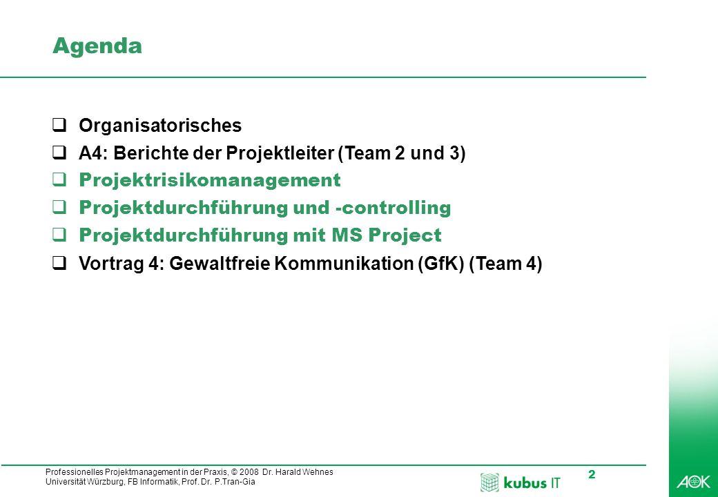 Professionelles Projektmanagement in der Praxis, © 2008 Dr. Harald Wehnes Universität Würzburg, FB Informatik, Prof. Dr. P.Tran-Gia 2 Agenda Organisat