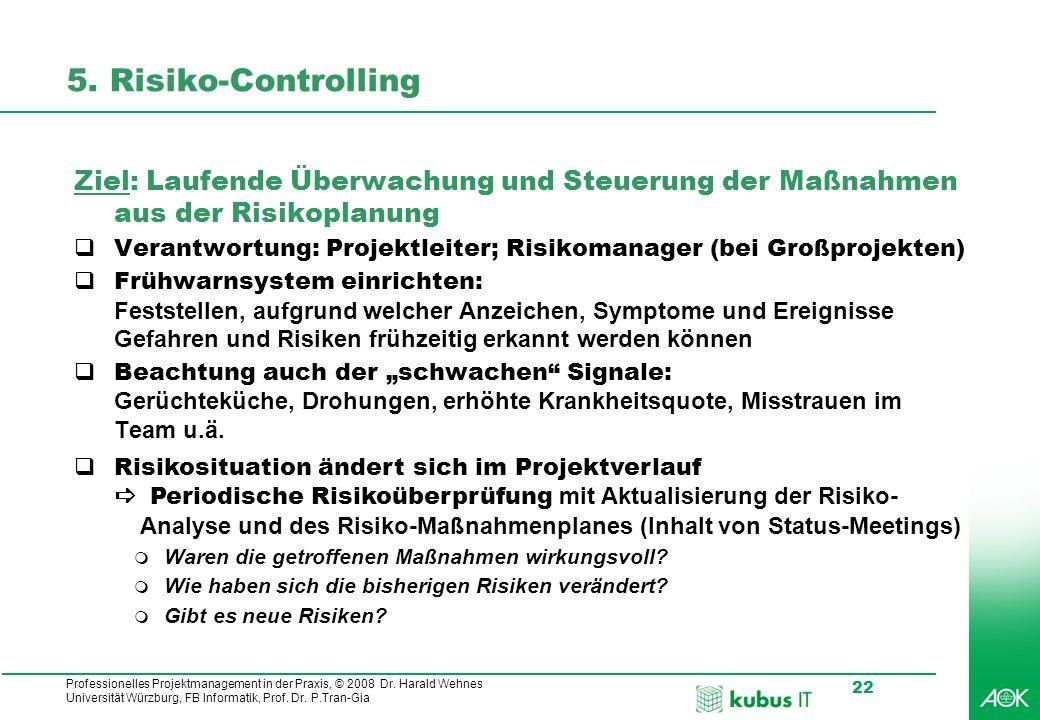 Professionelles Projektmanagement in der Praxis, © 2008 Dr. Harald Wehnes Universität Würzburg, FB Informatik, Prof. Dr. P.Tran-Gia 22 5. Risiko-Contr