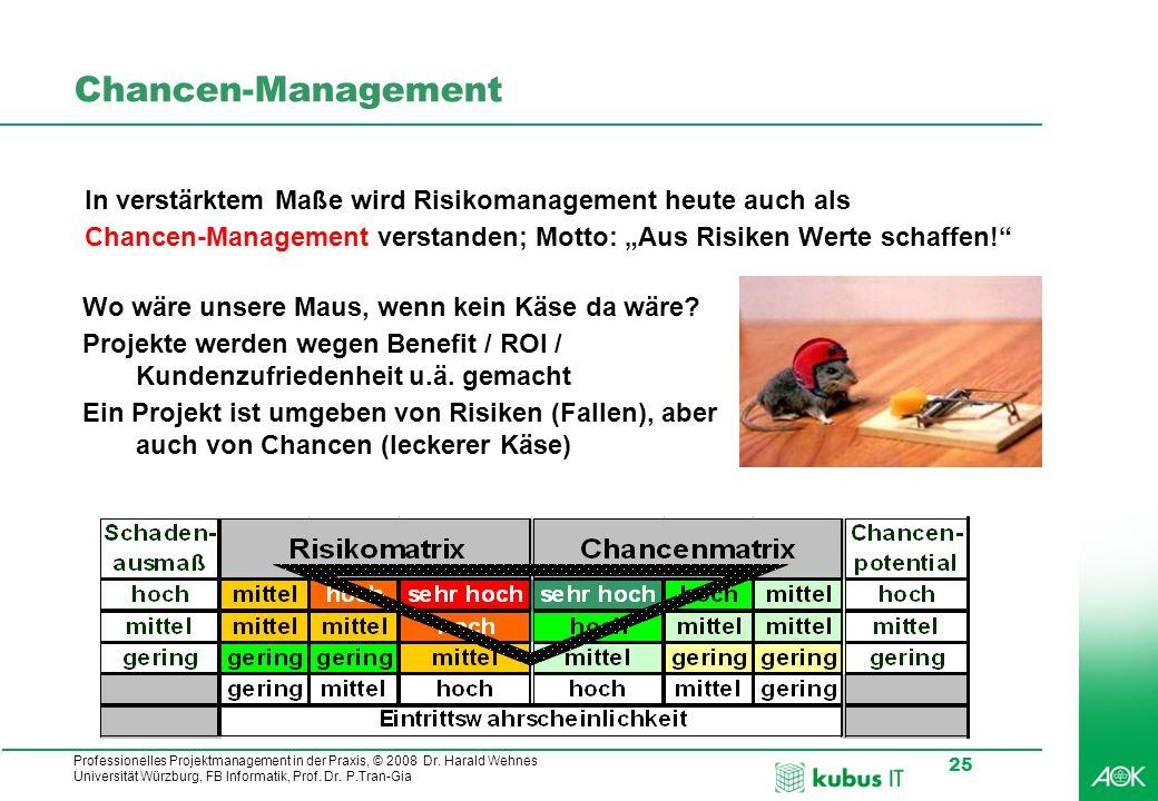 Professionelles Projektmanagement in der Praxis, © 2008 Dr. Harald Wehnes Universität Würzburg, FB Informatik, Prof. Dr. P.Tran-Gia 25 Chancen-Managem