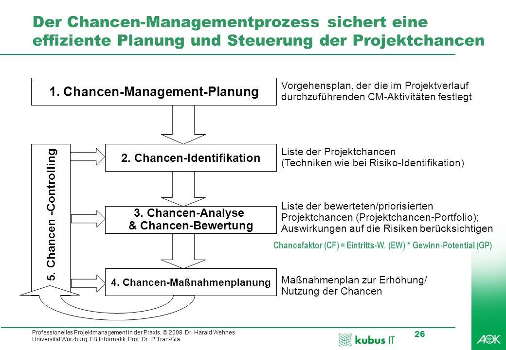 Professionelles Projektmanagement in der Praxis, © 2008 Dr. Harald Wehnes Universität Würzburg, FB Informatik, Prof. Dr. P.Tran-Gia 26 Der Chancen-Man