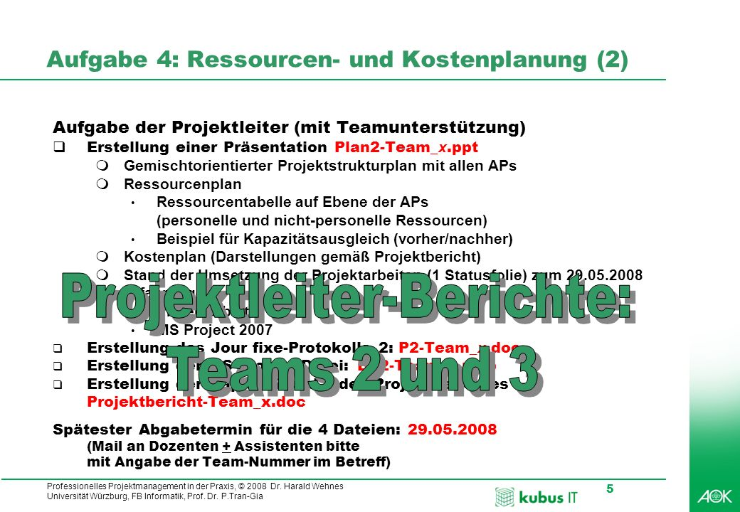Professionelles Projektmanagement in der Praxis, © 2008 Dr. Harald Wehnes Universität Würzburg, FB Informatik, Prof. Dr. P.Tran-Gia 5 Aufgabe 4: Resso