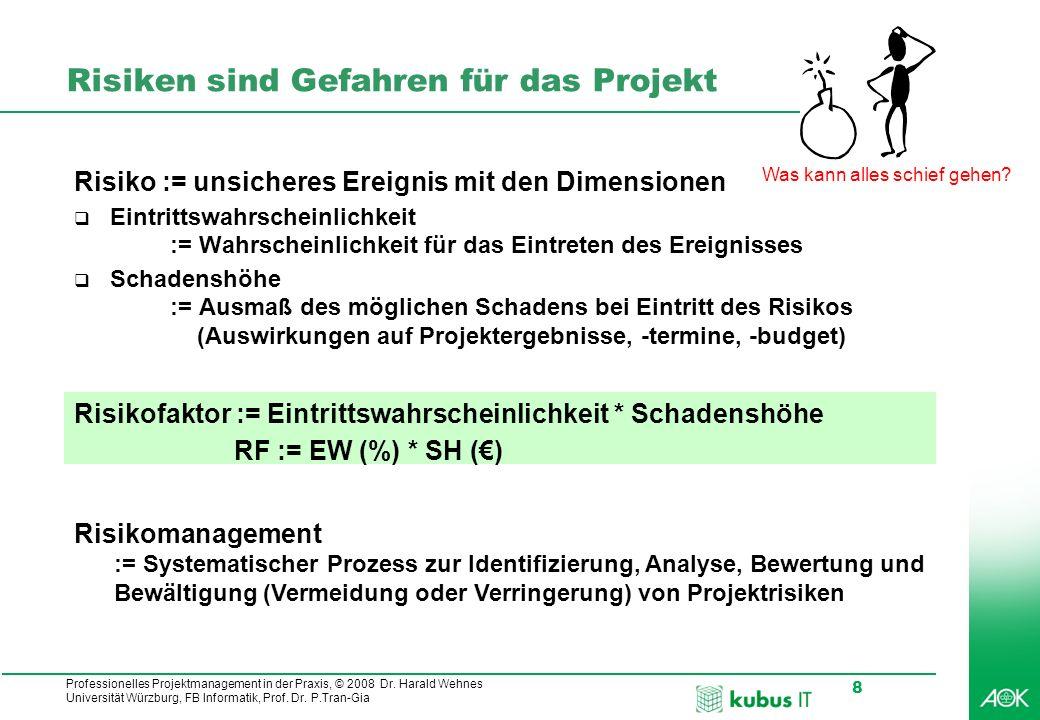 Professionelles Projektmanagement in der Praxis, © 2008 Dr. Harald Wehnes Universität Würzburg, FB Informatik, Prof. Dr. P.Tran-Gia 8 Risiken sind Gef