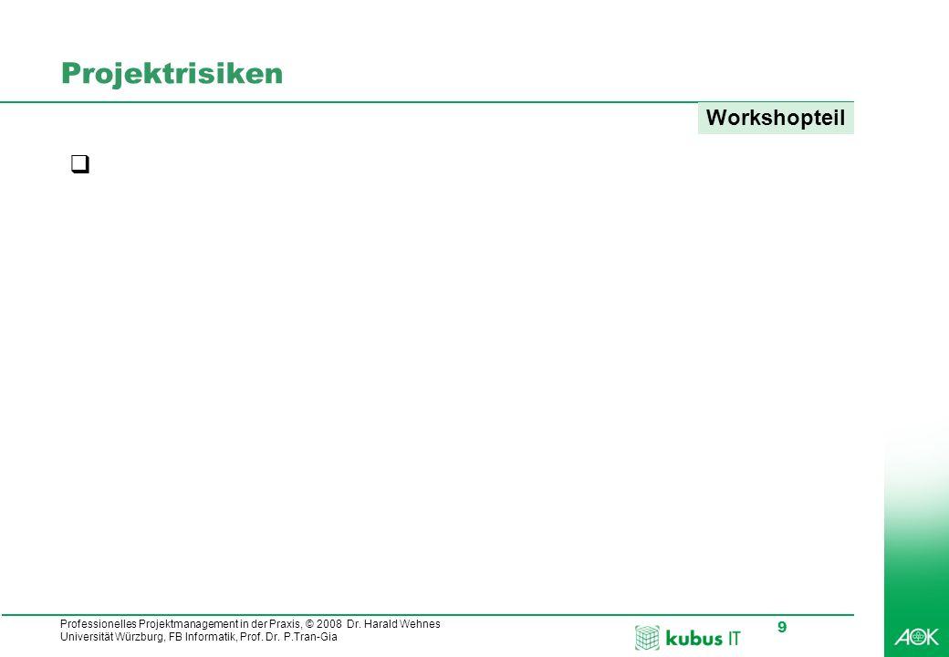 Professionelles Projektmanagement in der Praxis, © 2008 Dr. Harald Wehnes Universität Würzburg, FB Informatik, Prof. Dr. P.Tran-Gia 9 Projektrisiken W