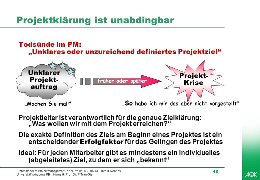 Professionelles Projektmanagement in der Praxis, © 2006 Dr. Harald Wehnes Universität Würzburg, FB Informatik, Prof. Dr. P.Tran-Gia 10 Projektklärung