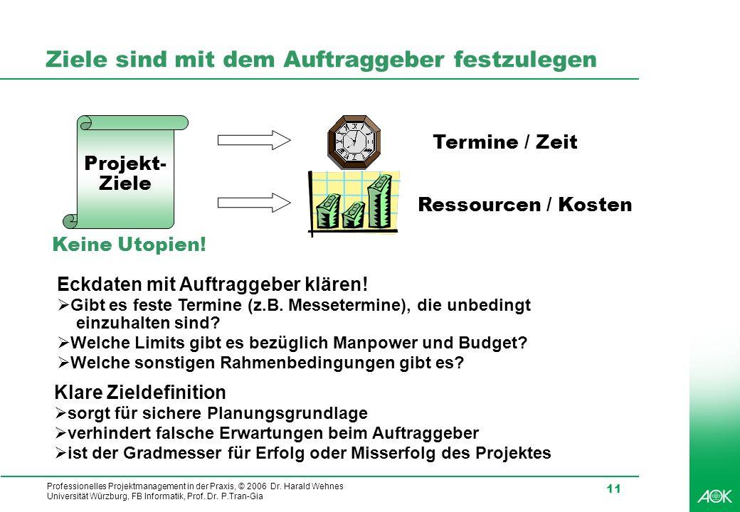 Professionelles Projektmanagement in der Praxis, © 2006 Dr. Harald Wehnes Universität Würzburg, FB Informatik, Prof. Dr. P.Tran-Gia 11 Ziele sind mit