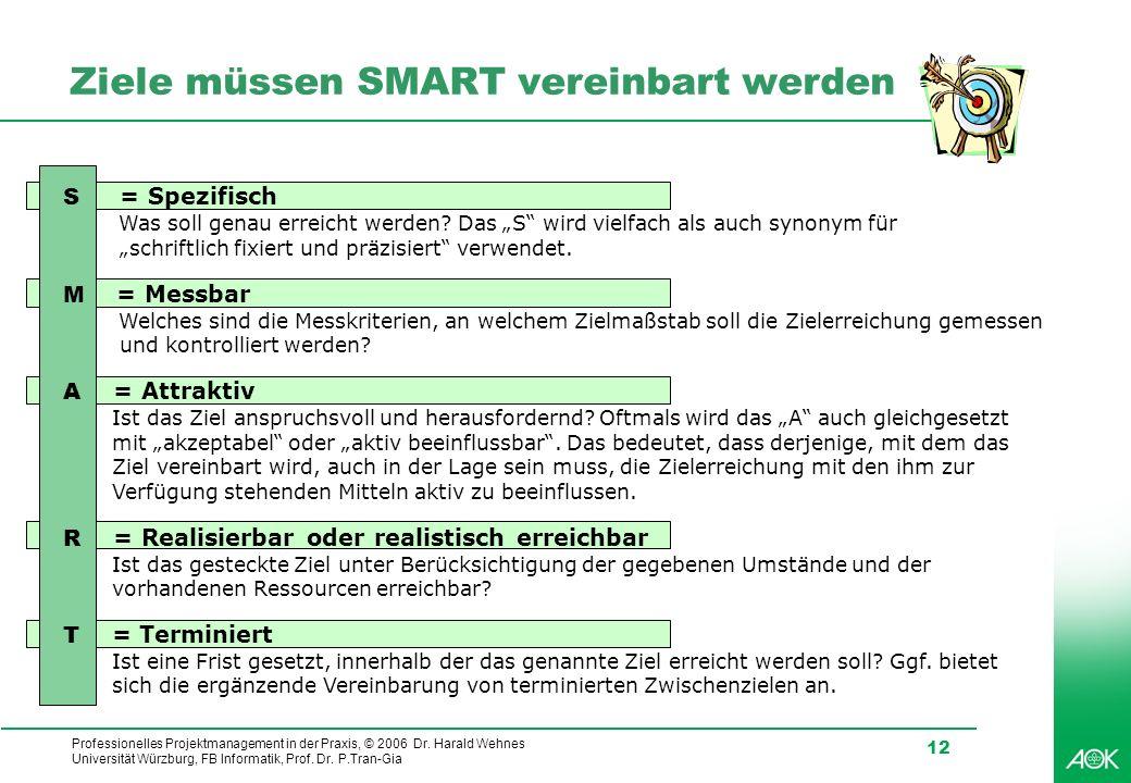 Professionelles Projektmanagement in der Praxis, © 2006 Dr. Harald Wehnes Universität Würzburg, FB Informatik, Prof. Dr. P.Tran-Gia 12 S = Spezifisch